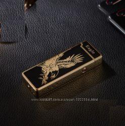 Электроимпульсная USB зажигалка. Золотая с орлом