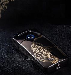 Красивая электроимпульсная USB зажигалка. Графитовая с тигром