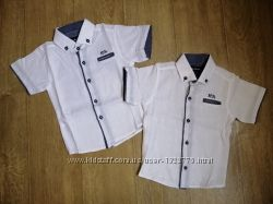 Рубашка с коротким рукавом белая, голубая, коттон, Турция. Размеры 2-11