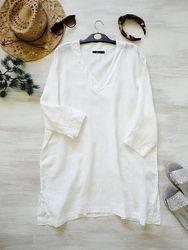 Льняная свободная туника Ahlens, белая длинная блуза лён, богемный шик