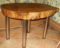Стол дубовый из спила дуба для интерьера в стиле кантри, шале, лофт