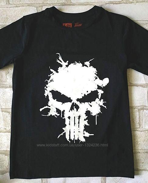Детская футболка с черепом 128, 140см 7-10лет