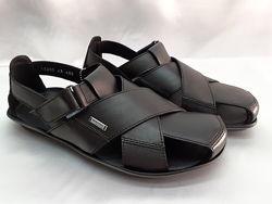 Распродажа Стильные кожаные чёрные сандалии Bertoni