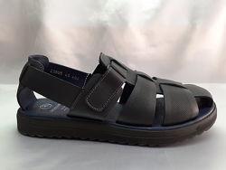 РаспродажаКомфортные кожаные синие сандалии на платформе Bertoni