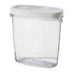 Контейнер c крышкой для сухих продуктов, прозрачный, белый. IKEA