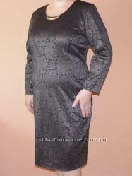 Платье Exclusive новое теплое черно-коричневого цвета с декором 56 размер