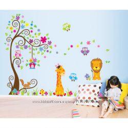 Интерьерная наклейка на стену в детскую - Зверята