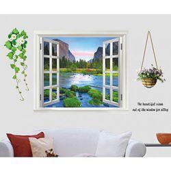 Интерьерная наклейка на стену Окно на горную речку