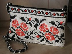 Вязаная женская сумка-вышиванка