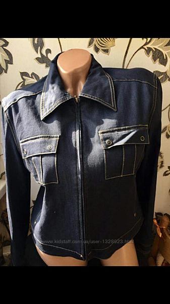 Autentic джинсовый пиджак жакет летний без подкладки размер 38, тянется сост