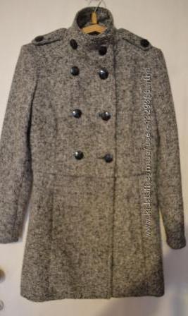 Пальто-бушлат серый меланж