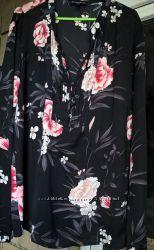 Супер блуза черного цвета с цветочным рисунком, 4648 размер