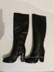 Зимние кожаные высокие сапоги 39 р