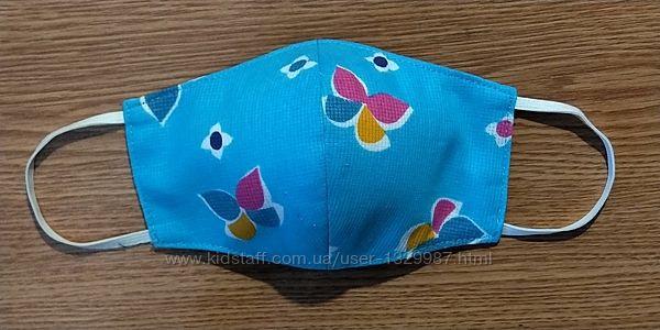 Детская хлопковая защитная маска для лица трехслойная