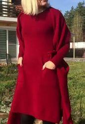 Теплые вязаные платья на заказ