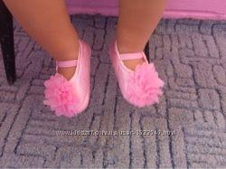 Красивые новые нарядные пинетки балетки на девочку розовые