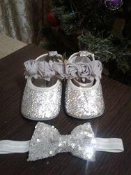 Пинетки туфельки для девочки серебро золотые
