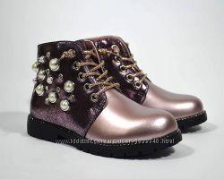Мега шикарные Демисезонные Ботинки Сказка розовый для девочки р 26 БУ