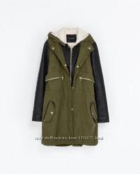 Женская парка куртка с рукавами из кожзама Zara