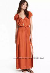Красивое летнее платье макси с разрезами от H&M терракотового цвета.