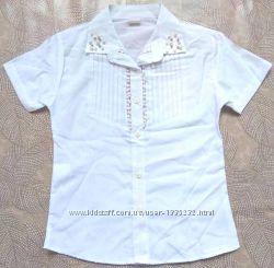 Акция до 29.11 Блузка белая нарядная, рост 116-152, Турция. Две модели.