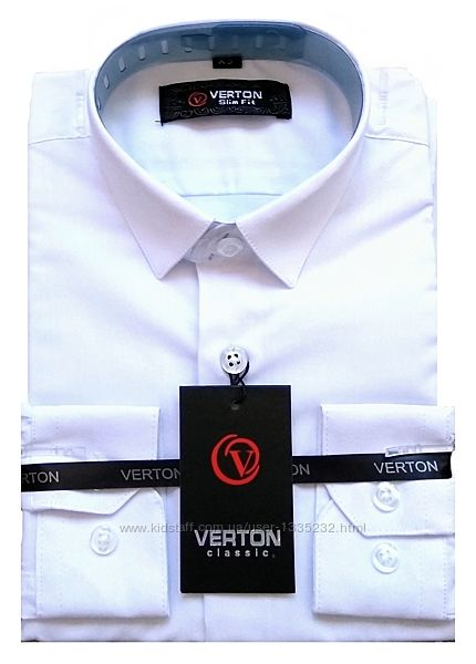 Рубашка, тенниска белая, рост 122-164, Турция