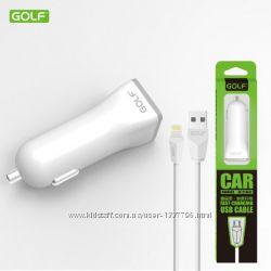 Автомобильное зарядное устройство golf gf-c1l  кабель lightning для iphone