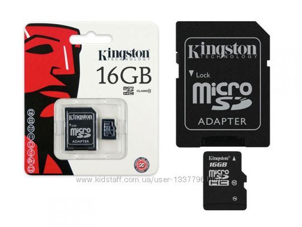 Карта памяти microSD Kingston 16 Gb  адаптер