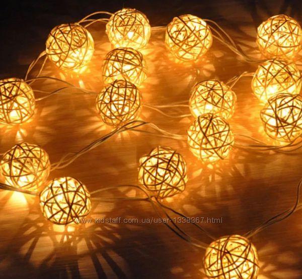 Гирлянда шарики LED светодиодная. для дизайна. На батарейках.