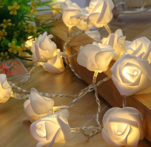 Розы. Светодиодная гирлянда на батарейках. переносная. Автономная