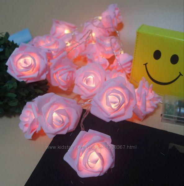 Гирлянда розовые Розы на батарейках. Светодиодная переносная.