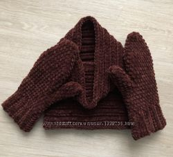 Снуд и рукавицы коричневые велюр