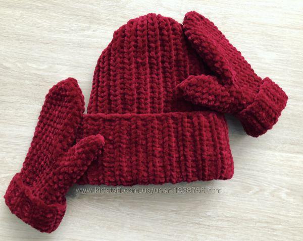 Шапка и варежки рукавицы вязаные ручная работа бордовые велюр новые handmad