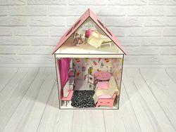 Домик из фанеры для Барби 2 комнаты 2 этажа  мебель  обои  шторы  текс