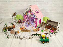 Домик для кукол LOL LITTLE FUN с Фермой, обоями, шторками, мебелью, текстил