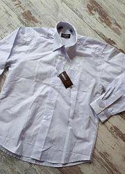 Белоснежная рубашка с атлас вставками р31