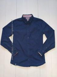 Рубашка синяя школьная Reserved на 9-10 лет