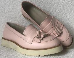 Женские лоферы весна лето  туфли классические Loafer обувь кожа пудра