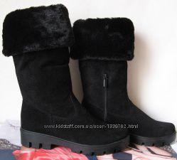 Зимние высокие женские классические замшевые сапоги Lola взуття  кожа обувь