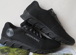 Jordan летние черные мужские спортивные кроссовки сетка кожа реплика