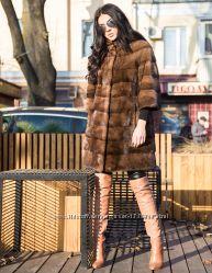 Норковая шуба поперечка, цвет соболь Kopenhagen fur