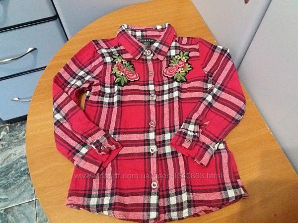 Фланелевая рубашка для девочки клетка с вышивкой Primark
