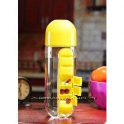 Бутылка для воды с органайзером для таблеток, 3 цвета