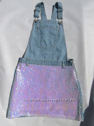 Джинсовая юбка - сарафан на девочку  11 лет. Англия