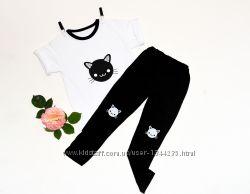 Комплект для девочек футболка и леггинсы Cat р-р 80-134