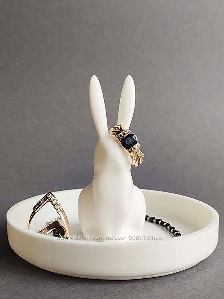 Подставка Bunny для колец, украшений. 3D печать. Белы, розовый, мятный.
