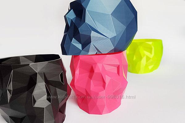 Кашпо, ваза, горшок, подставка полигональный Череп. 12х8,5х7см. 3D печать.
