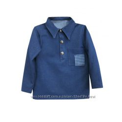 Стильная рубашка-поло от More Kids джинс-стретч 92-98-104-110