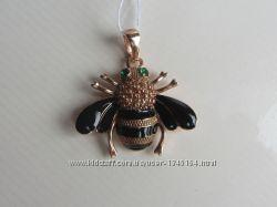 Підвісочка Пчелка, срібло з позолотою і чорною емаллю