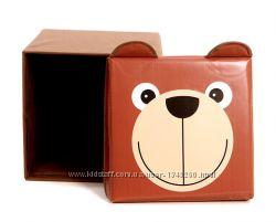 Детский пуф 3 в 1 корзина, ящик для игрушек Мишка Украина 404040 см